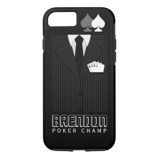 Coque iPhone 8/7 Casino noir et gris de champion de tisonnier de