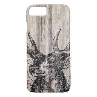 Coque iPhone 8/7 Cerfs communs rustiques en bois |