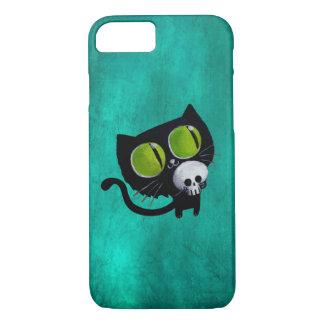 Coque iPhone 8/7 Chat noir de Halloween avec le crâne