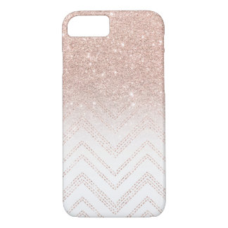Coque iPhone 8/7 Chevron moderne de faux d'or d'ombre rose chic de