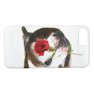 Coque iPhone 8/7 Chien de boxeur avec la caisse rose de l'iPhone 8