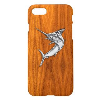 Coque iPhone 8/7 Chrome Marlin sur le bois de teck