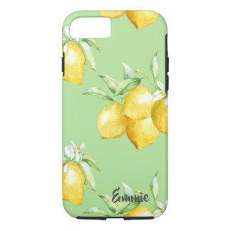 Coque iPhone 8/7 Citrons jaunes sur vert clair