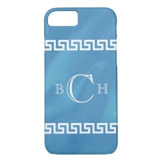 Coque iPhone 8/7 Clé bleue de Grec d'aquarelle