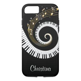 Coque iPhone 8/7 Clés de piano et notes personnalisables de musique