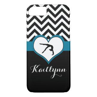 Coque iPhone 8/7 Coeur de Chevron de gymnastique avec le monogramme