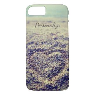 Coque iPhone 8/7 Coeur vintage de photo de plage dans le cas de