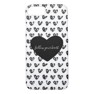 Coque iPhone 8/7 Coeurs blancs noirs