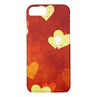 Coque iPhone 8/7 coeurs sur le rouge doux sur un cas iphone7