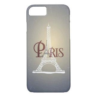 Coque iPhone 8/7 Conception bleue vintage élégante de Paris de Tour