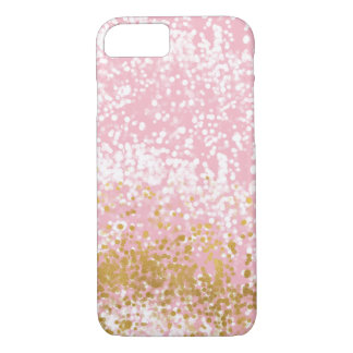 Coque iPhone 8/7 Confettis pétillants d'or scintillant chic rose