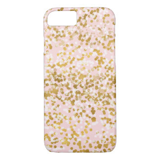 Coque iPhone 8/7 Confettis roses blancs d'or
