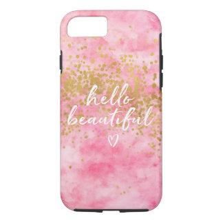 Coque iPhone 8/7 Confettis roses d'or d'aquarelle bonjour beaux