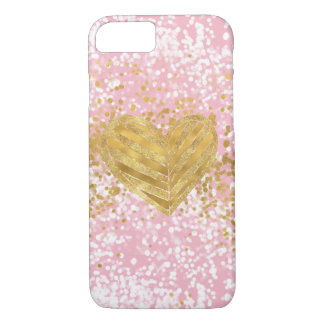 Coque iPhone 8/7 Confettis scintillants chics roses de coeur d'or