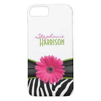 Coque iPhone 8/7 Copie verte rose de zèbre de marguerite
