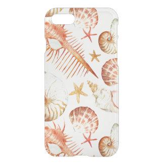Coque iPhone 8/7 Corail avec les coquilles et le motif de crabes