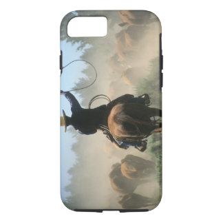 Coque iPhone 8/7 Cowboy sur le cheval avec le lasso conduisant des