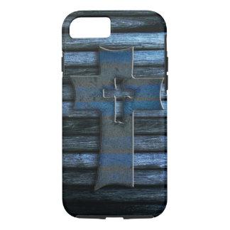 Coque iPhone 8/7 Croix en bois bleue