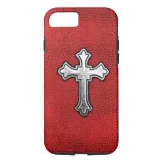 Coque iPhone 8/7 Croix en métal sur le cuir rouge