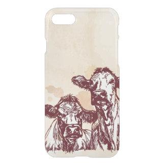 Coque iPhone 8/7 Croquis d'aspiration de main de deux vaches et cru