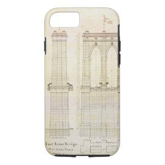 Coque iPhone 8/7 Cru de modèle d'architecture du pont de Brooklyn