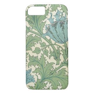 Coque iPhone 8/7 Cru floral de conception bleue d'anémone de