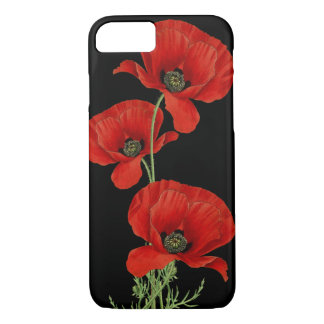 Coque iPhone 8/7 Cru rouge de pavots botanique