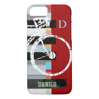 Coque iPhone 8/7 cycle/recyclage, rayures et nom
