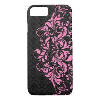Coque iPhone 8/7 Damassés noires élégantes et dentelle rose