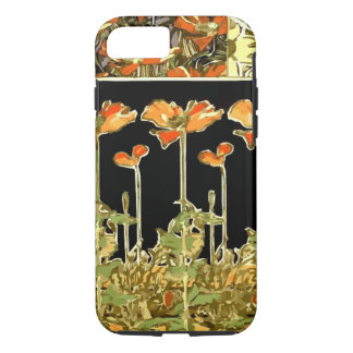 Coque iPhone 8/7 Decoratifs (fleurs oranges) par Alphonse Mucha