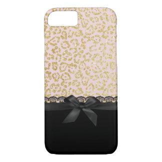 Coque iPhone 8/7 Dentelle noire chic et ruban d'empreinte de