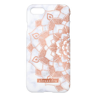 Coque iPhone 8/7 Dentelle rose de mandala de feuille d'or de Faux à