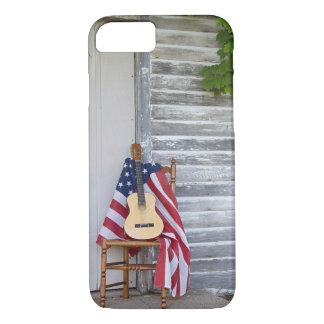 Coque iPhone 8/7 Drapeau américain avec la guitare sur la chaise