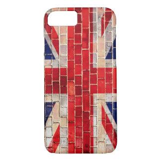 Coque iPhone 8/7 Drapeau BRITANNIQUE d'Union Jack sur un mur de