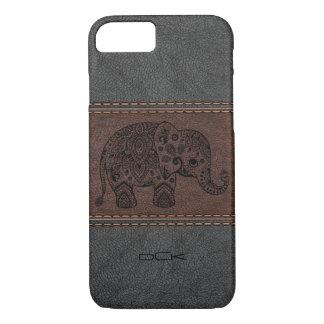 Coque iPhone 8/7 Éléphant noir de Paisley au-dessus de cuir vintage