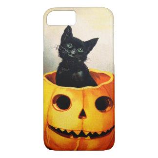 Coque iPhone 8/7 Ellen H. Clapsaddle : Chat noir en Jack O'Lantern