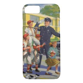 Coque iPhone 8/7 Enfants vintages, garde de croisement de joueurs
