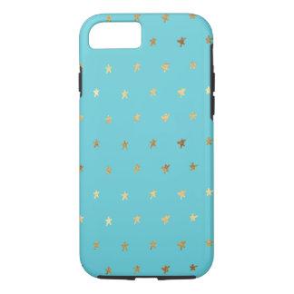 Coque iPhone 8/7 Étoiles de turquoise d'Aqua d'or