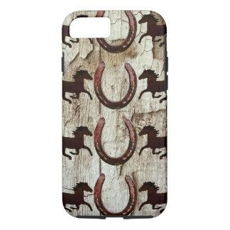 Coque iPhone 8/7 Fers à cheval de chevaux sur le cas en bois de
