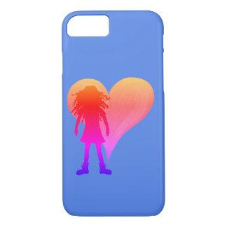 Coque iPhone 8/7 Fille colorée avec de longs cheveux bouclés et