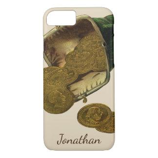 Coque iPhone 8/7 Finances vintages d'affaires, argent de pièce d'or