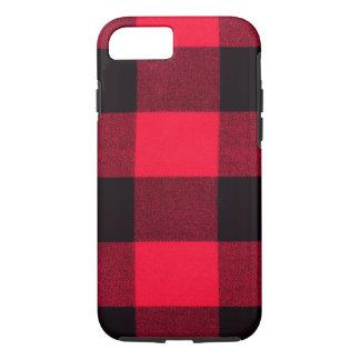 Coque iPhone 8/7 Flanelle à la mode de plaid de Buffalo, rouge et