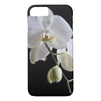Coque iPhone 8/7 Fleur blanche d'orchidée sur le noir