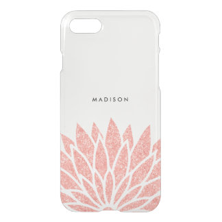 Coque iPhone 8/7 Fleur rose de scintillement d'or de Faux