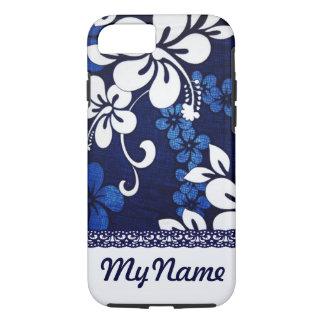 Coque iPhone 8/7 Fleurs bleues personnalisées d'Hawaï