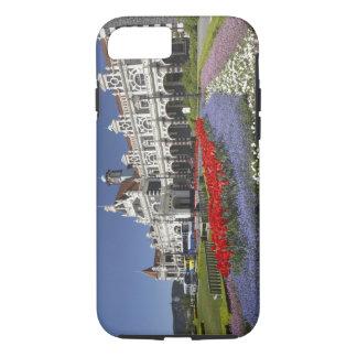 Coque iPhone 8/7 Fleurs de ressort et gare ferroviaire historique,