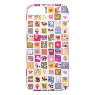 Coque iPhone 8/7 fleurs mignonnes, oiseaux, motif de carrés de