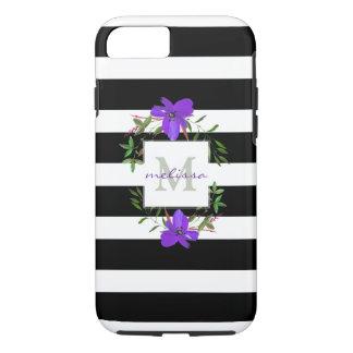 Coque iPhone 8/7 Fleurs violettes de monogramme avec les rayures