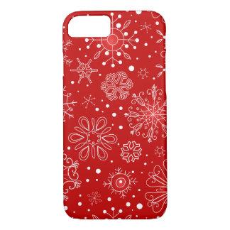 Coque iPhone 8/7 Flocons de neige sur l'arrière - plan rouge