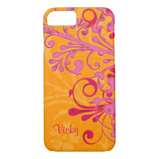 Coque iPhone 8/7 Floral orange rose personnalisé